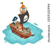 isometric pirate ship crew... | Shutterstock .eps vector #1035102994