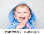 little baby boy with tooth brush | Shutterstock . vector #103510871