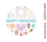 passover seder poster. signs... | Shutterstock . vector #1035111304