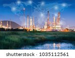 landscape of oil refinery plant ... | Shutterstock . vector #1035112561