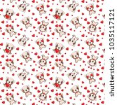 a pattern with small brown dogs ... | Shutterstock .eps vector #1035117121