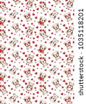 a pattern with small brown dogs ... | Shutterstock .eps vector #1035118201