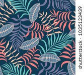 tropical background with palm... | Shutterstock .eps vector #1035123439
