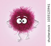 fluffy cute pink spherical... | Shutterstock .eps vector #1035125941