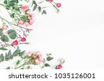 flowers composition. frame made ... | Shutterstock . vector #1035126001