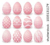 set of pink easter eggs with... | Shutterstock .eps vector #1035131179