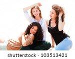 three beautiful women smiling... | Shutterstock . vector #103513421