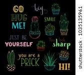 vector cacti and hand written... | Shutterstock .eps vector #1035135961