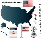 Vector Set Of Usa Country Shap...
