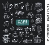 """""""cafe"""" sketch icons set. hand... 