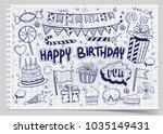 happy birthday background. hand ...   Shutterstock .eps vector #1035149431