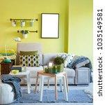 green wall and grey sofa...   Shutterstock . vector #1035149581