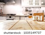 table background in kitchen and ... | Shutterstock . vector #1035149737