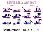 fitness exercises with cartoon... | Shutterstock .eps vector #1035150271