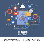 flat illustration for ui ux... | Shutterstock .eps vector #1035153109