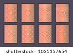card set with mosaic lace... | Shutterstock .eps vector #1035157654