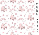 cute lovely pink and white... | Shutterstock .eps vector #1035158029