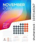 wall calendar template for... | Shutterstock .eps vector #1035160267
