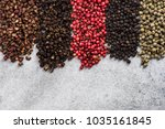 five pepper colors and... | Shutterstock . vector #1035161845