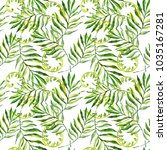 tropical watercolor leaves in... | Shutterstock . vector #1035167281