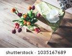 cozy home spring atmosphere  ... | Shutterstock . vector #1035167689