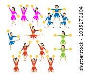 cheerleader girls team set.... | Shutterstock .eps vector #1035173104
