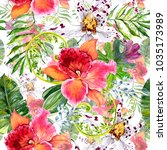 tropical watercolor leaves and ... | Shutterstock . vector #1035173989