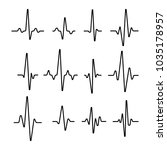 set of sinusoidal pulse lines... | Shutterstock .eps vector #1035178957
