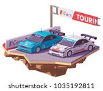 vector low poly touring racing... | Shutterstock .eps vector #1035192811