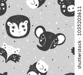 cute baby animals seamless... | Shutterstock .eps vector #1035203611