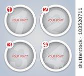 One, Two, Three, Four, Circular progressive labels - stock vector