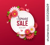 spring sale background with... | Shutterstock .eps vector #1035208609
