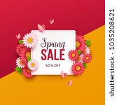 spring sale background with... | Shutterstock .eps vector #1035208621