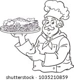cook holding fish and chips meal | Shutterstock .eps vector #1035210859