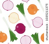 japanese bunching onion and... | Shutterstock .eps vector #1035211375
