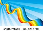 bright rainbow in the blue sky. | Shutterstock .eps vector #1035216781