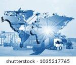 transportation  import export... | Shutterstock . vector #1035217765