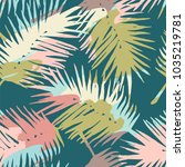 seamless exotic pattern with... | Shutterstock .eps vector #1035219781