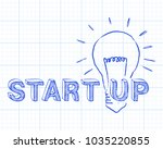 hand drawn start up sign and... | Shutterstock .eps vector #1035220855
