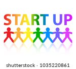 start up cut out paper people... | Shutterstock .eps vector #1035220861
