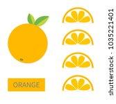 orange fruit icon set. slice in ... | Shutterstock .eps vector #1035221401