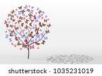 postcard tree butterfly instead ... | Shutterstock . vector #1035231019