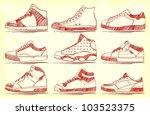 vector set of nine sketched...