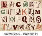 sketched alphabet set  based on ... | Shutterstock .eps vector #103523414