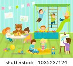boy kids vector kindergarten... | Shutterstock .eps vector #1035237124