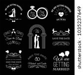 wedding set  dress  couple ... | Shutterstock .eps vector #1035237649