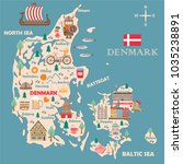 Stylized map of Denmark. Travel illustration with danish landmarks, architecture, national flag, and other symbols in flat style. Vector illustration