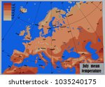 july mean temperature europe | Shutterstock .eps vector #1035240175