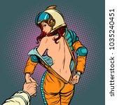 follow me undresses astronaut... | Shutterstock .eps vector #1035240451