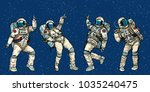 disco party astronauts dancing... | Shutterstock .eps vector #1035240475